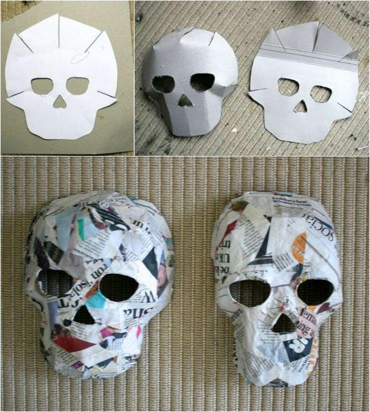 Vorlagen und Anleitung für Pappmache Masken. Zum Basteln mit Pappmache brauchen Sie eine Vorlage des Totenkopfes zum Falten, Zeitungspapier und Kleister. Drucken Sie Ihre Vorlage lieber auf einen Karton, um einfacher mit dem Pappmache zu arbeiten. Vor dem Bemalen und Dekorieren sollen die Masken gut abgetrocknet sein.