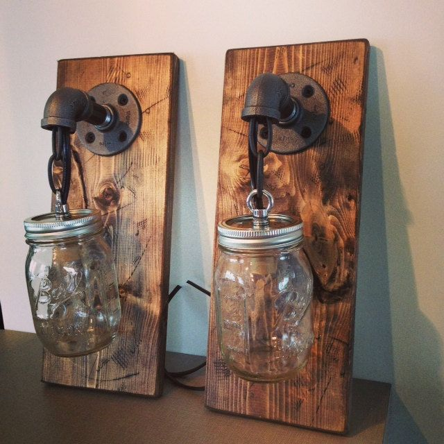 Handmade Wall Light Fixtures : Industrial rustic modern wood handmade mason jar light
