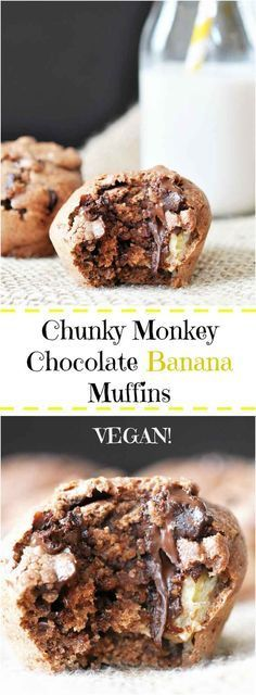 Chunky Monkey Chocolate Banana Muffins! This vegan muffin recipe is filled with chocolate and bananas. The perfect morning or afternoon treat.