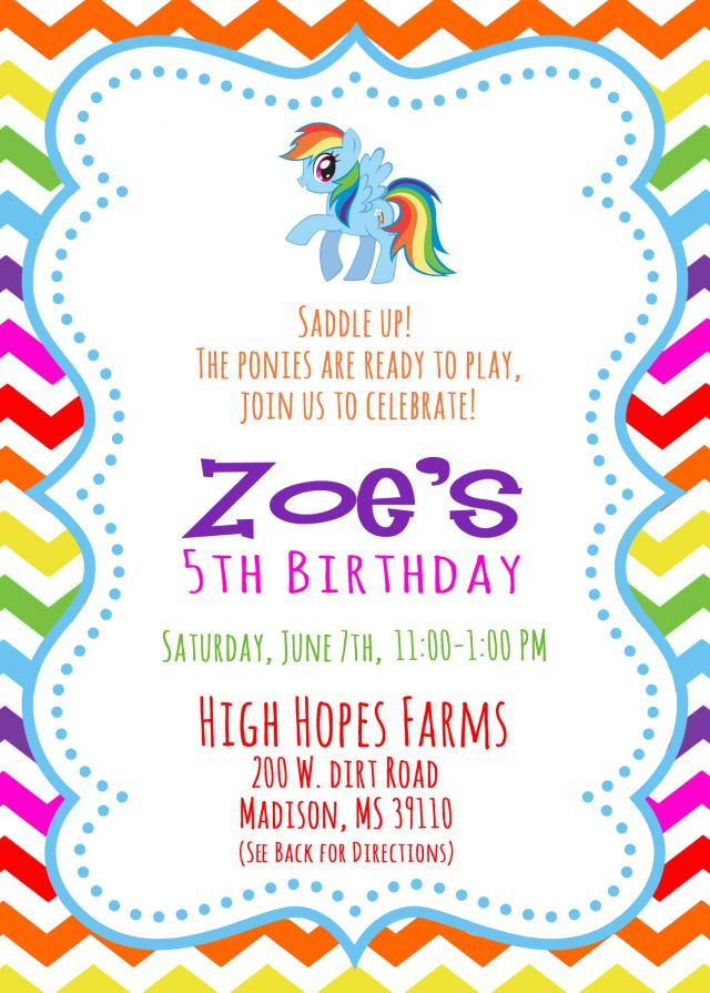 Best My Little Pony Birthday Party Ideas Images On Pinterest - My little pony birthday party invitation template
