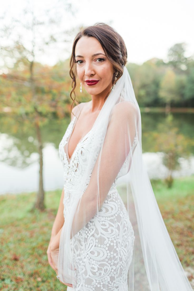 Cedar Post Barn Wedding | Thick Lace Sheer Fitted Mermaid Wedding Dress | Made With Love Bridal Australia | Long Veil | Bridal Updo Hairstyle | The Lees Photography | Wedding and Engagement Photography | Baton Rouge, Louisiana