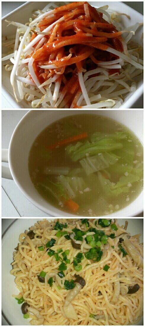 今日の夕ごはん\(^_^)/たらことしめじの焼きそば、ひき肉と白菜のおかずスープ、もやしキムチ!!もやしキムチとかめっちゃ手抜きw