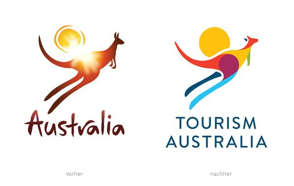 Tourism Australia Logos - vorher und nachher