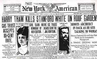 Stanford White. new york architect. murdered. (because of his affair with evelyn nesbit.)