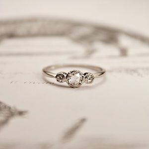 platinum rose-cut diamond 'trilogy' ring