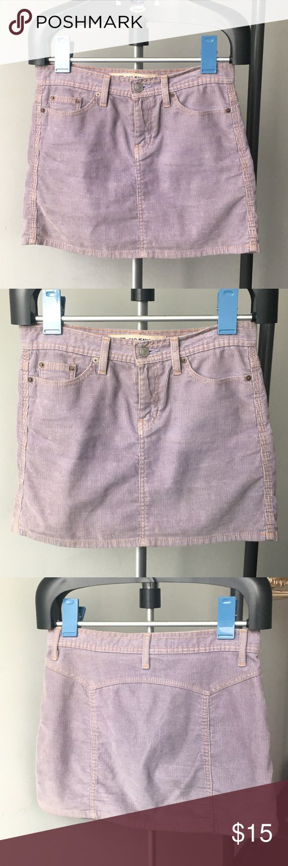 Gap Lavender Corduroy A-Line Mini Skirt this lavender skirt is so cute, really soft, and actually has quite a bit of stretch (2% Lycra)!! I am only selling because I lost weight and it no longer fits right. Light fading throughout. Cotton/polyester/lycra blend. GAP Skirts Mini