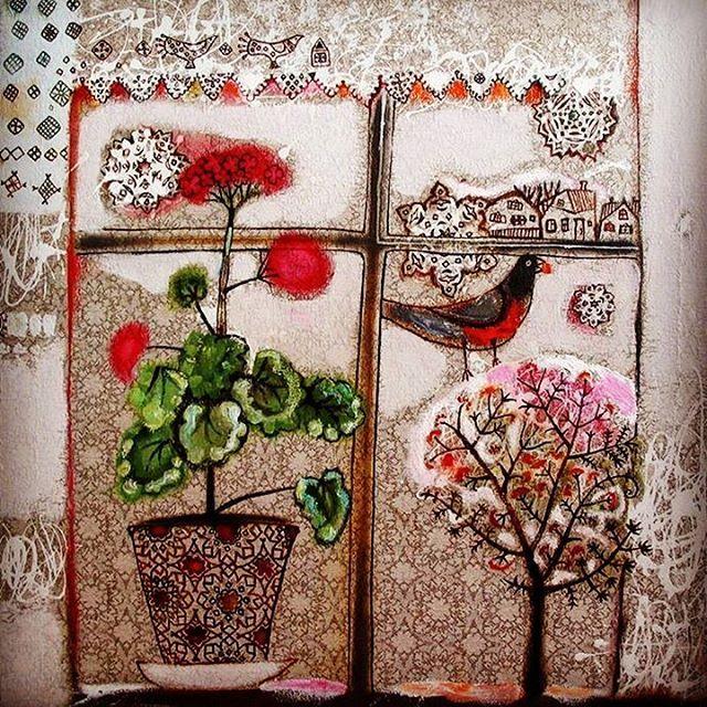 """Зимнее окно"" 2005г. 65х65. Холст, масло ""Winter Window"" 2005. 65х65cm. Oil on canvas Anna Silivonchik www.silivonchik.ru #art #winter #snow #window #artgallery #oilpicture #picture #painting #арт #annasilivonchik #naive #аннасиливончик #живопись #картина #зима #окно #снег #снегирь #искусство #творчество #artwork #myart"