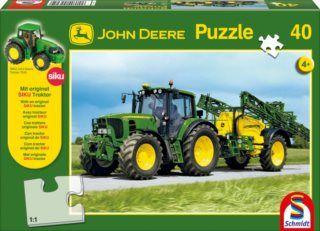 Schmidt Siku Puzzle Traktor John Deere 7530 + model 200 dílků