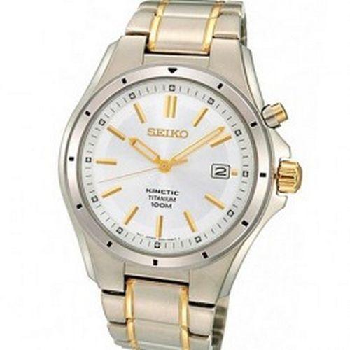 Seiko Kinetic Titanium Mens Two Tone Watch Model - SKA497P1
