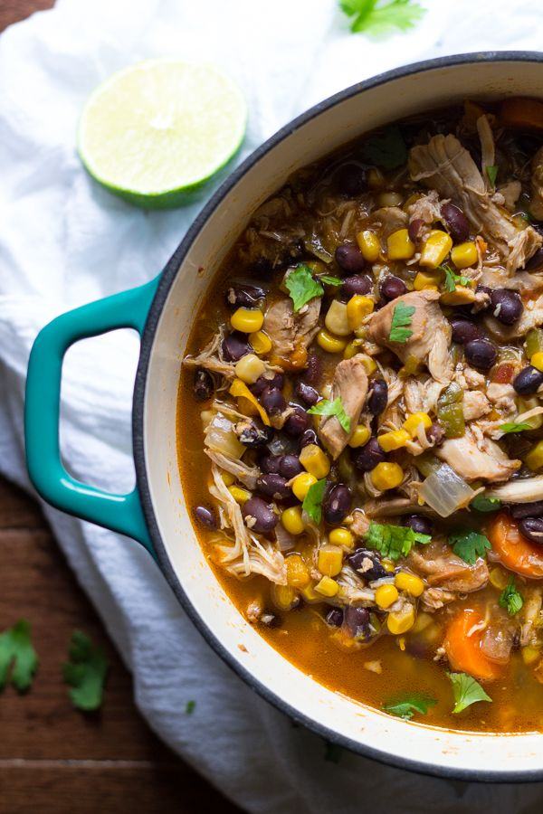 Slow Cooker Mexican Chicken Stew with Black Beans, Corn and Avocado