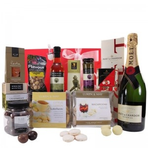 $160.00 - When only luxury will do, treat that special someone to something special. An indulgent selection of our favourite selection of foods, beautifully wrapped for any occasion. #gifts #giftbasket #giftbox #giftjar #cashews #macaroons #oliveoil #tapenade #crispbread #paprika #fennel #coriander #strawberries #chandon #champagne