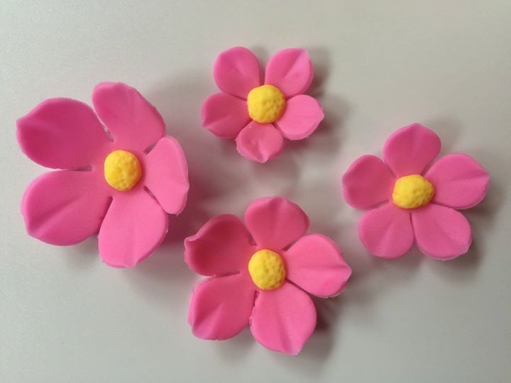 36 fondant flowers Pink yellow fantasy Hawaiian tropical edible flowers cupcake toppers wedding cake decorations topper birthday sweet 16 by InscribingLives (24.99 USD) http://ift.tt/1PrTTeu