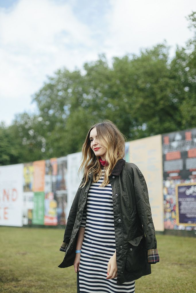 festival, what olivia did, blogger, style, stripe dress, simple, comfy, casual, barbour wax jacket, ombre