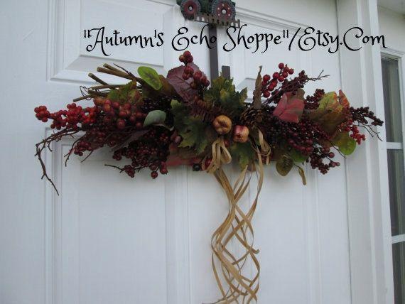 Autumn Decor Swag   ,   Seasonal Door Decor ,  Rustic CountrySwag  ,  Fall Mantle Decor Swag  ,  Wreath Alternative