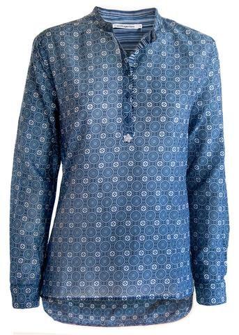 Copenhagen Luxe Skjorte print 7323 Printet Silk Shirt P48 blue – Acorns