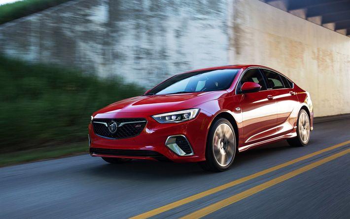 Descargar fondos de pantalla Buick Regal GS, 2018, sedán Rojo, rojo Regal, coches americanos, la carretera, la velocidad, Buick