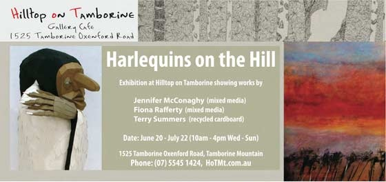 Harlequins On The Hill Art Exhibition Jun 20 - July 22 - so many art shows happening on Mount Tamborine in July - book into Lisson Grove for a night or two to see them all!