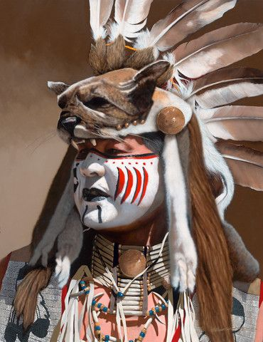 """""""Sign Of The Cat"""" Artist - #JD Challenger.  Beautiful painting of a Nez Perce Native American in full tribal headdress and regalia. Original Acrylic on Canvas 36""""h x 28""""w."""