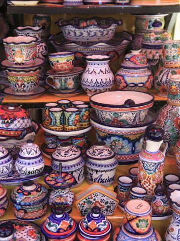 Talavera Pottery, El Parian Market, Puebla, Historic Center, Puebla State, Mexico, North America Photographic