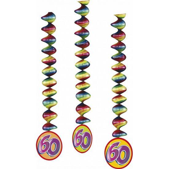 3 stuks rotorspiralen 60 jaar. Materiaal rotorspiralen: folie & papier. Formaat: 100 cm. 60 jaar feest versiering hebben wij in zeer veel varianten.
