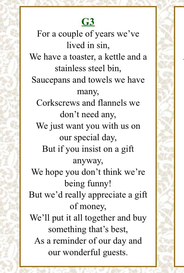 Honeymoon Wedding Gift Poem Gallery - Wedding Decoration Ideas