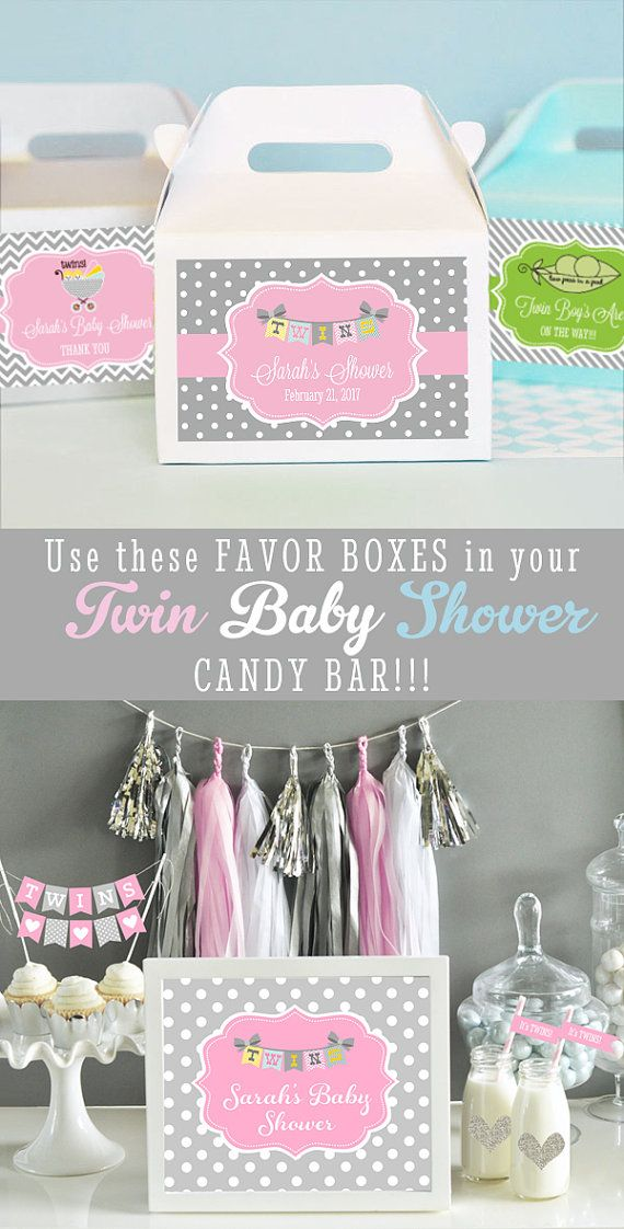 twin baby shower favors are so easy with these personalized favor