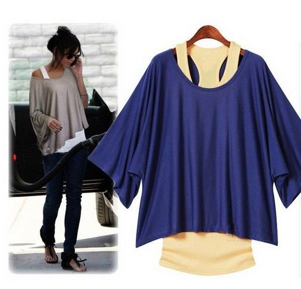 Blue batwing blouse - 14 USD