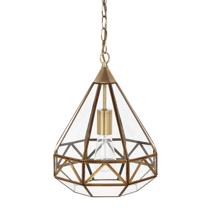 Laura Ashley Zaria Antique Brass Glass Frame Pendant Light