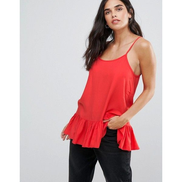 Blend She Ella Peplum Cami Top (£16) ❤ liked on Polyvore featuring tops, red, scoop neck top, strappy cami top, spaghetti-strap tops, camisole tops and red peplum top
