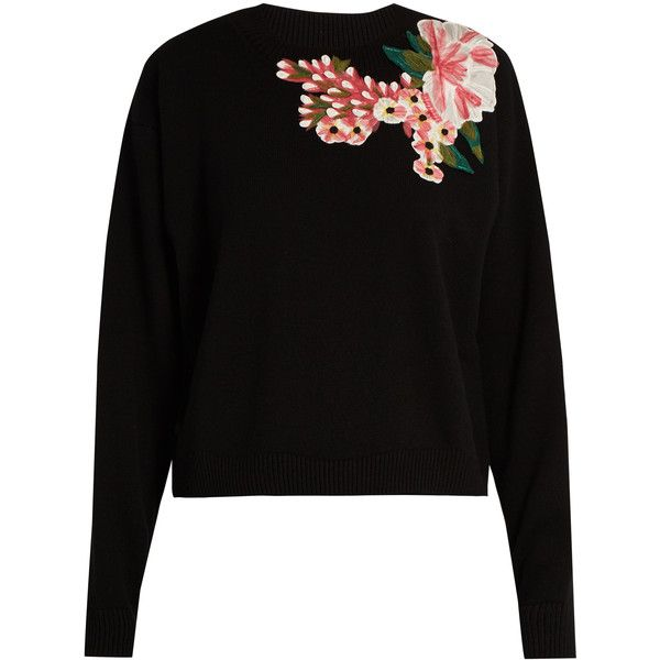 Dolce & Gabbana Floral-appliqué wool and cashmere-blend sweater ($1,098) ❤ liked on Polyvore featuring tops, sweaters, shirts, jumper, blusas, black, wool shirt, flower sweater, loose shirt and dolce gabbana sweaters