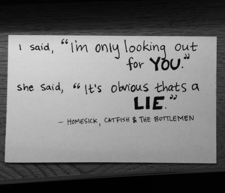 Catfish and the Bottlemen Homesick I said Im only looking out for you She said its obvious thats a lie