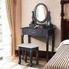 Black Dressing Table Makeup Desk with Stool3 Drawers and Oval Mirror Bedroom