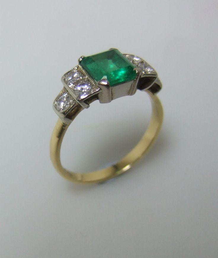 Art Deco Columbian Emerald And Diamond Ring Emerald
