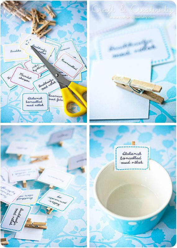So simple, so smart.  Clothespin buffet food tags.  I always wondered how to label loose foods in bowls and now I know.