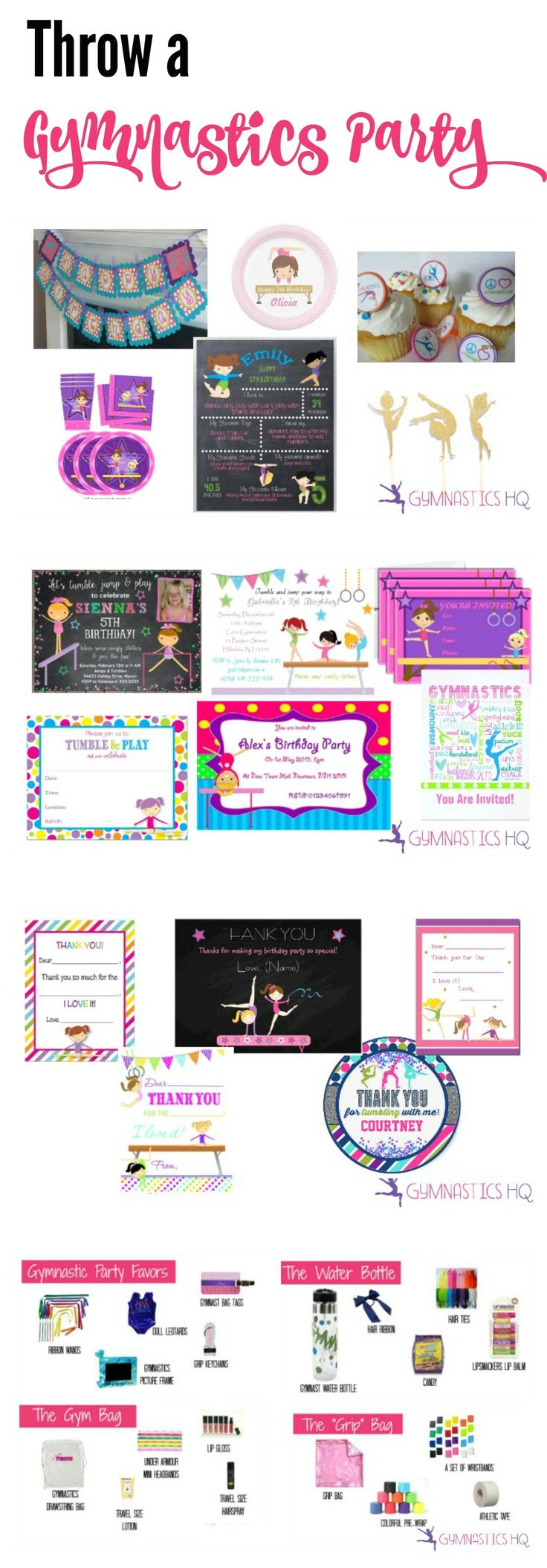 Throw a Gymnastics Party--Everything you need to know plus invitations, decorations, activities and more