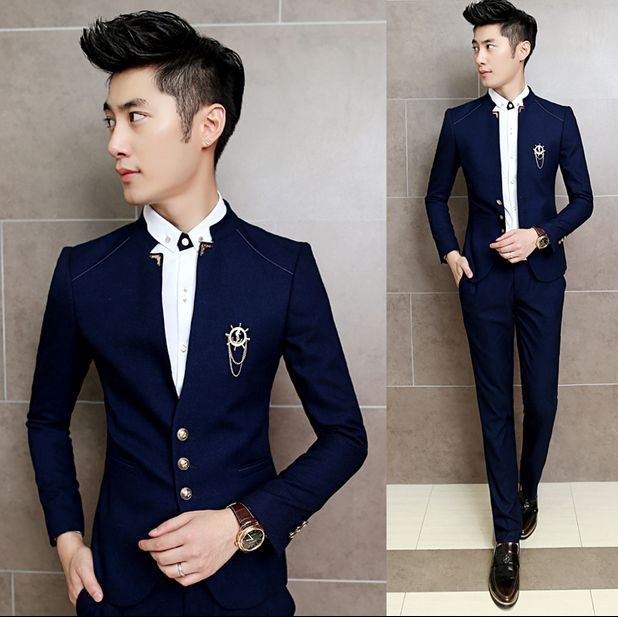 Men/'s Tuxedo Embroidery Stand Collar 2pcs Suit Blazer Coat Slim Fit Jacket Party
