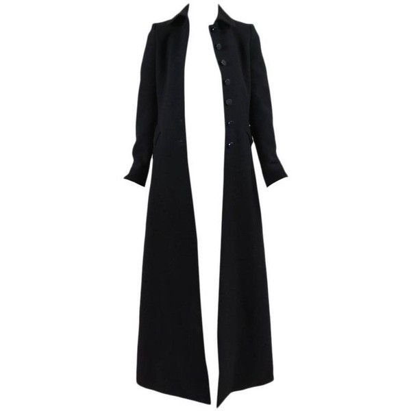 Preowned Alaia Nwt Black Wool Paneled Single Breasted Long Sleeve... ($5,740) ❤ liked on Polyvore featuring outerwear, coats, black, trench coats, leather-sleeve coats, fur-lined coats, single breasted wool coat and single-breasted trench coats
