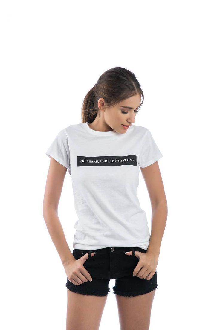 Short sleeve blouse with slogan. Round neck. 100% Cotton. https://www.modaboom.com/t-shirt-go-ahead-underestimate-me.html