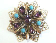 C. 1960-х яркий бирюзовый и фиолетовый стекло Золотая филигрань Чешская брошь Винтаж
