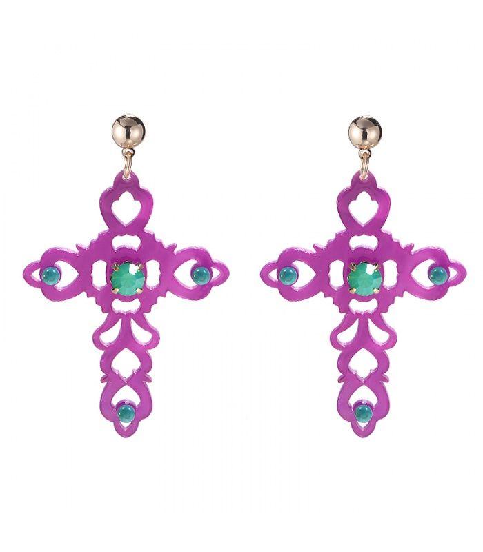 Paarse oorbellen in de vorm van een kruis|Mooie kruis oorbellen koop je bij Yehwang | Yehwang fashion en sieraden