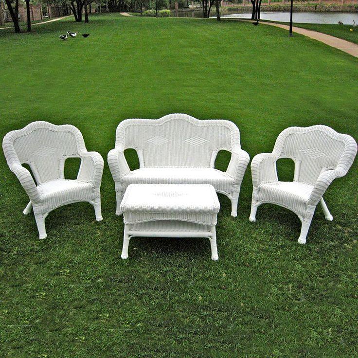 Outdoor International Caravan Madison Wicker Resin Patio Conversation Set - Seats 4 White - 3180-WT