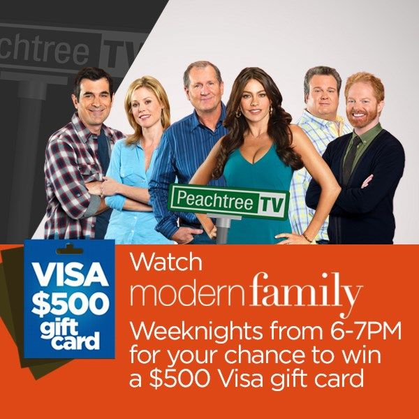 Watch Modern Family on Peachtree TV and enter for your a chance to win a $500 Visa gift card.