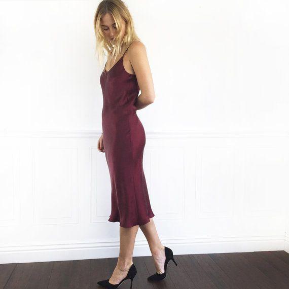 MERLOT RED SILK Dress | Sand Washed Silk Slip Dress Midi or Maxi Length | Adjustable Spaghetti Straps | Cut on the Bias for A Wonderful Fit