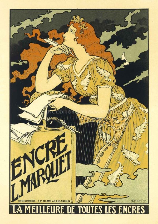 """Eugene Grasset: """"Encre Marquet"""" 1892 French Vintage Poster"""