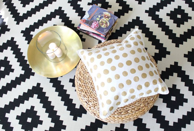DIY a chic gold polka dot pillow with this how-to.