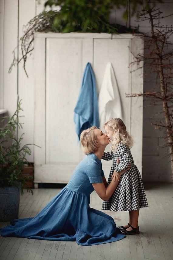 Blue Dress Linen Women Fashion Hand Made Dress by SondeflorShop