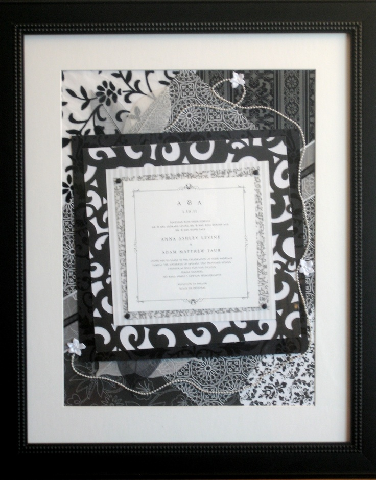 Simple black and white invitation with collage inspired by the scroll motif border. Demonstrates how even the simplest wedding invitation can become a gorgeous framed wedding invitation keepsake. $299