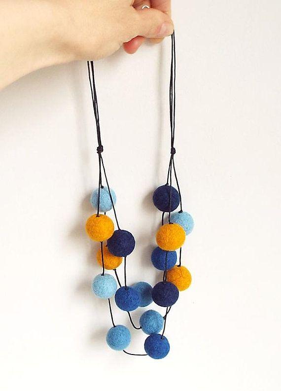 Felted Necklace Felt Necklace Felted Balls Felt Balls Blue