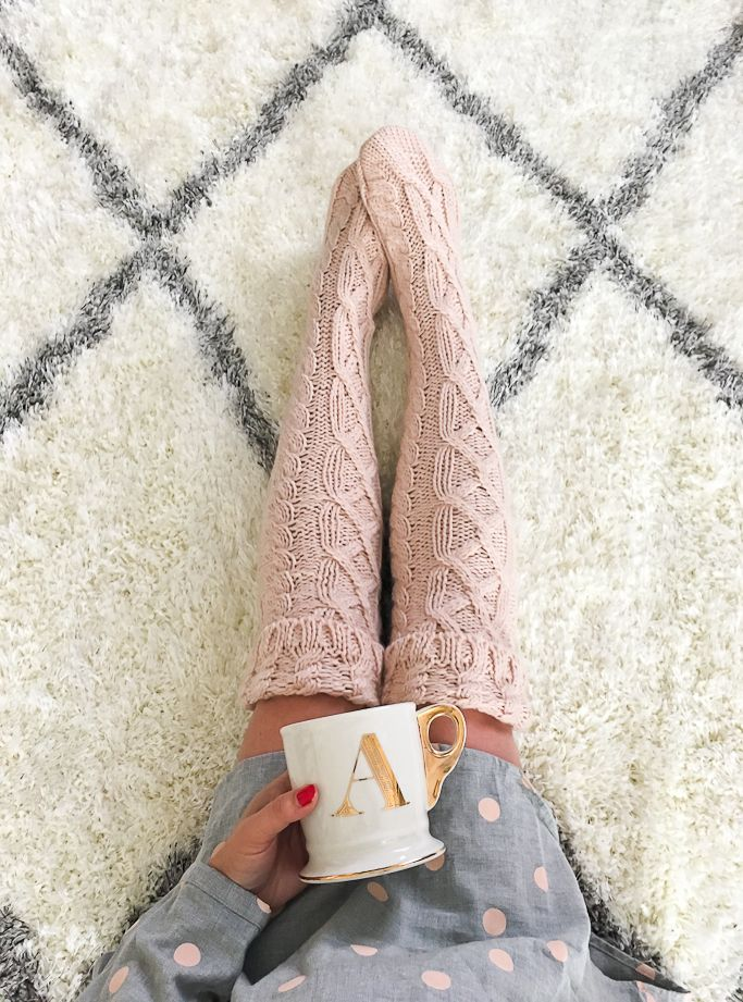 StylishPetite.com | Gold monogram mug, Polka dot pajama shirt dress, blush pink cable knit knee high socks - click on the photo for details of everything!