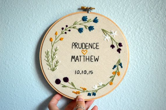 Wedding Embroidery Hoop - Customize with Couple's Names - Marriage, Anniversary, Personalized - Bride and Groom - Photo Prop